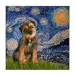 Starry Night / Border Terrier Tile Coaster