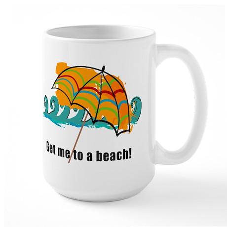 get me to a beach Large Mug