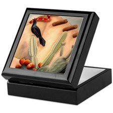 Crow, cactus and adobe Keepsake Box