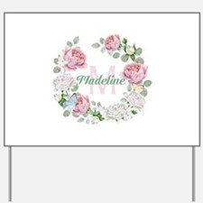 Rose Butterfly Floral Monogram Yard Sign