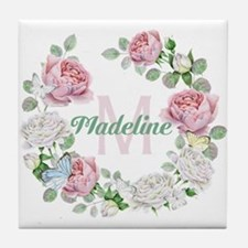 Rose Butterfly Floral Monogram Tile Coaster