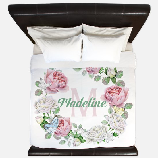 Rose Butterfly Floral Monogram King Duvet