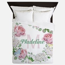 Rose Butterfly Floral Monogram Queen Duvet
