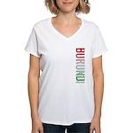 Burundi Stamp Women's V-Neck T-Shirt