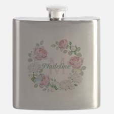Rose Butterfly Floral Monogram Flask