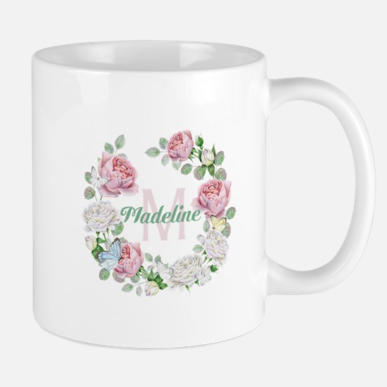 Rose Butterfly Floral Monogram Mugs