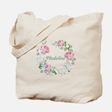 Rose Butterfly Floral Monogram Tote Bag