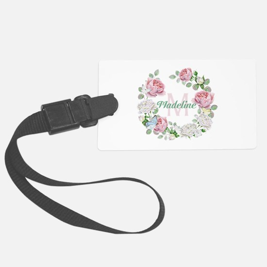 Rose Butterfly Floral Monogram Luggage Tag