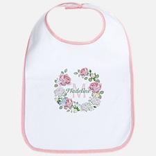 Rose Butterfly Floral Monogram Baby Bib