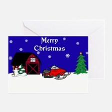 Snowmobile Christmas Greeting Card