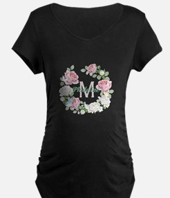 Rose Butterfly Floral Monogram Maternity T-Shirt