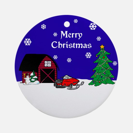 Snowmobile Christmas Ornament (Round)