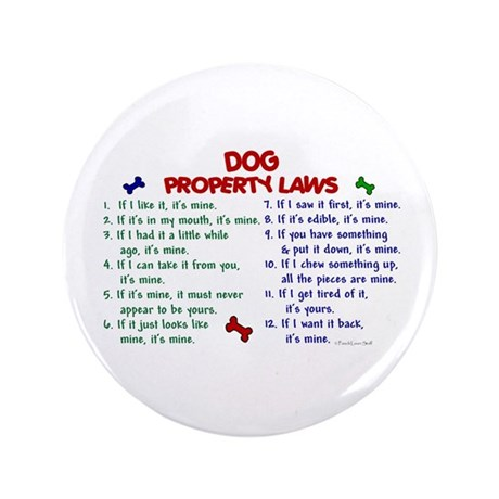 "Dog Property Laws 2 3.5"" Button (100 pack)"