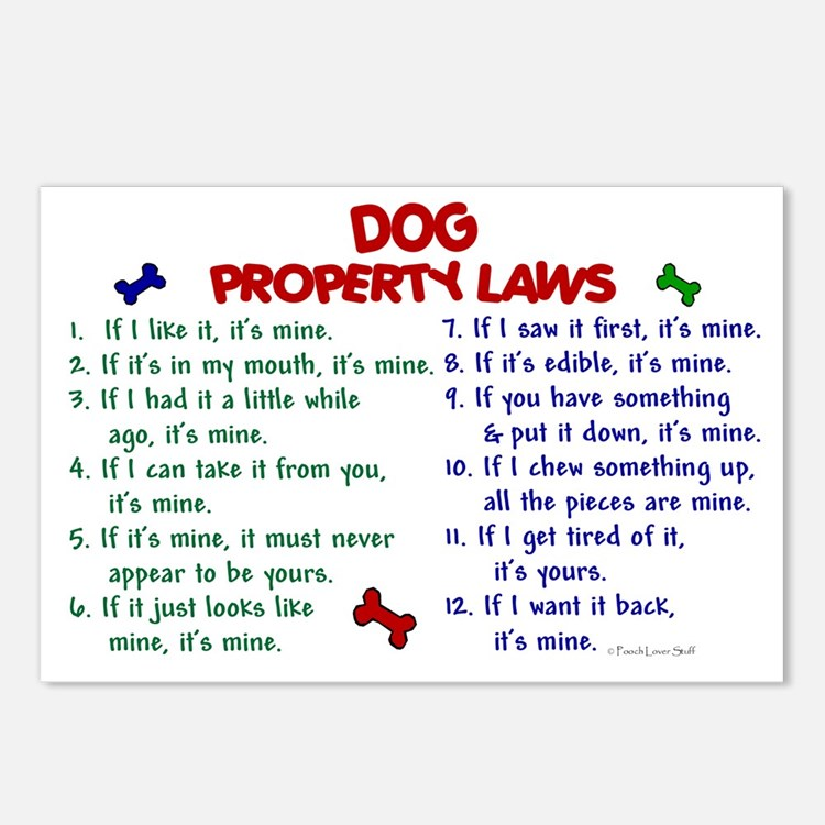 Dog Property Laws 2 Postcards (Package of 8)