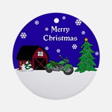 Motorcycle Christmas Ornament (Round)