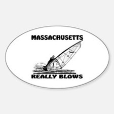 MASSACHUSETTS REALLY BLOWS Oval Decal