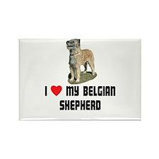 I Love My Belgian Shepherd Rectangle Magnet (10 pa
