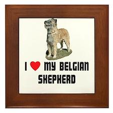 I Love My Belgian Shepherd Framed Tile