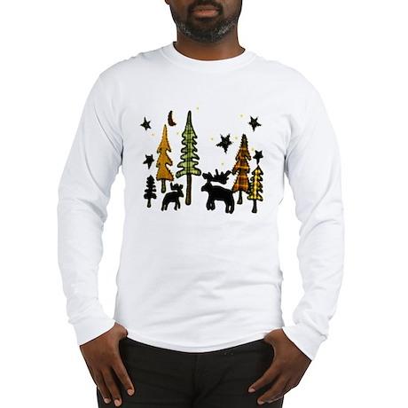 Moose Winter Scene Long Sleeve T-Shirt
