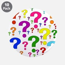 "Rainbow Question Marks 3.5"" Button (10 pack)"