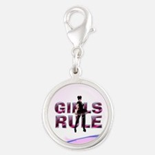 Girls Rule Silver Round Charm