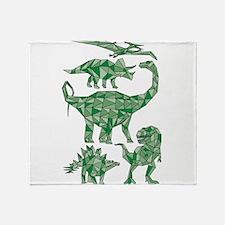 Geometric Dinosaurs Throw Blanket