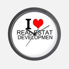 I Love Real Estate Development Wall Clock