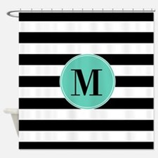 Black And Teal Stripes Monogrammed Shower Curtain