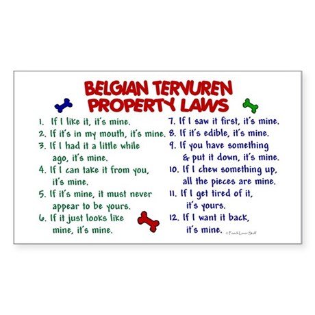 Belgian Tervuren Property Laws 2 Sticker (Rectangu
