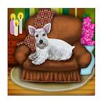 WHITE SCHNAUZER DOG CHAIR Tile Coaster