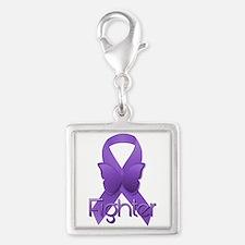 Purple Ribbon: Fighter Silver Square Charm