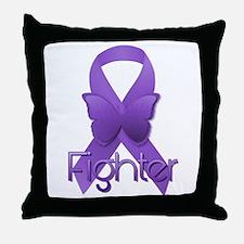 Purple Ribbon: Fighter Throw Pillow
