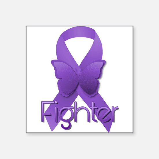 "Purple Ribbon: Fighter Square Sticker 3"" x 3"""