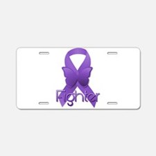 Purple Ribbon: Fighter Aluminum License Plate