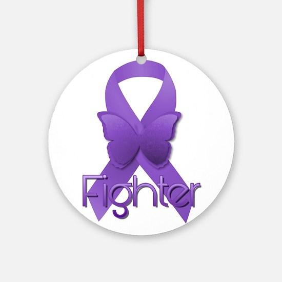 Purple Ribbon: Fighter Round Ornament