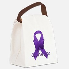 Purple Ribbon: Survivor Canvas Lunch Bag