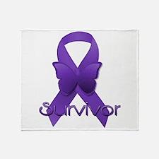 Purple Ribbon: Survivor Throw Blanket