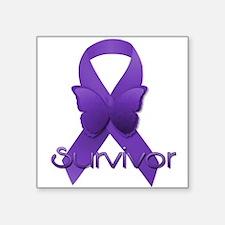 """Purple Ribbon: Survivor Square Sticker 3"""" x 3"""""""