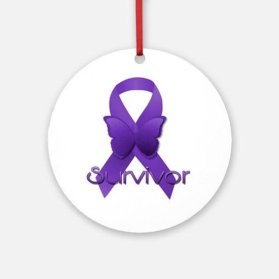 Purple Ribbon: Survivor Round Ornament