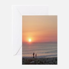 Sunset Beach Caparica Greeting Cards