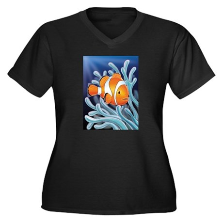 Clownfish & Anemone Women's Plus Size V-Neck Dark