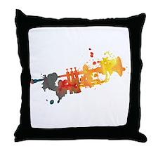 Paint Splat Trumpet Throw Pillow