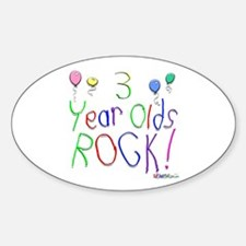 3 Year Olds Rock ! Oval Decal