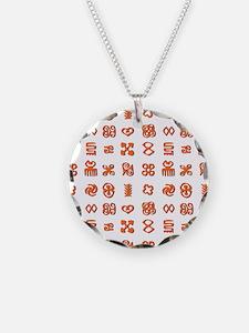 Adinkra Symbols in Orange An Necklace