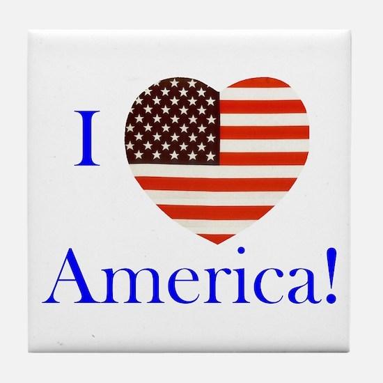 I Love America! Tile Coaster