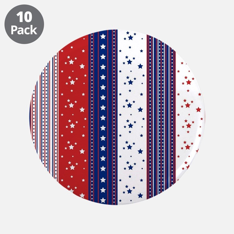 "Patriotic Strs & Stripes Abs 3.5"" Button (10 pack)"