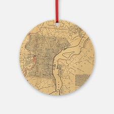 Vintage Map of Philadelphia Pennsyl Round Ornament