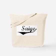 Saige Vintage (Black) Tote Bag