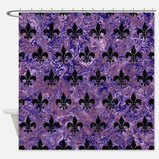 ROYAL1 BLACK MARBLE & PURPLE MARBLE Shower Curtain