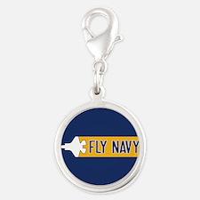 U.S. Navy: Fly Navy (F-35) Silver Round Charm